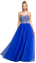 Beaded Plunging V-neck Jersey Evening Dress