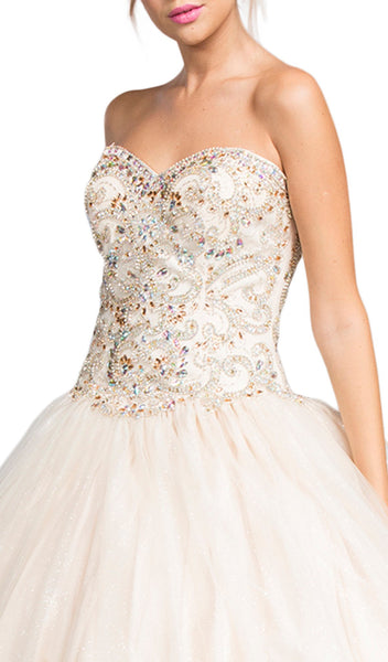 Jeweled Strapless Sweetheart Evening Ballgown