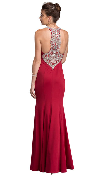 Embellished Illusion Halter Prom Fitted Dress