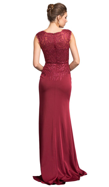 Embroided V-neck Sheath Prom Dress