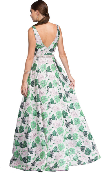 Floral Print Deep V-neck A-line Prom Dress