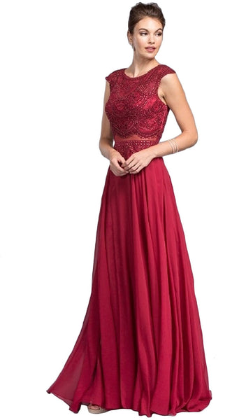 Mock Two Piece Jewel Embroided A-line Prom Dress
