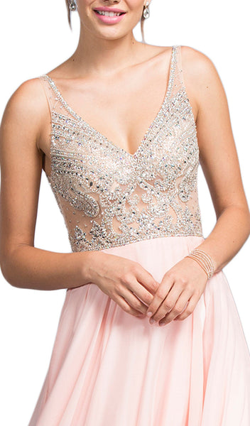 Embellished Plunging V-neck A-line Prom Dress