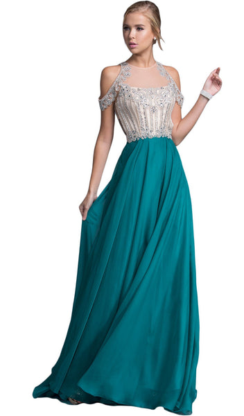Bedazzled Illusion Halter Prom Dress - ADASA