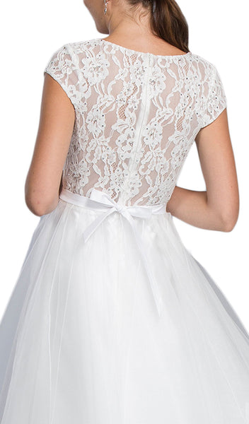 Embellished Lace V-neck A-line Prom Dress