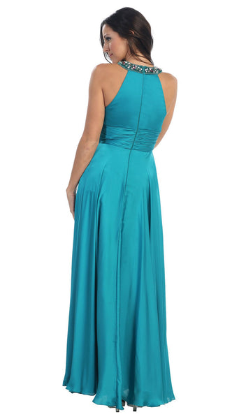 Jeweled Halter Neck Ruched A-line Evening Dress