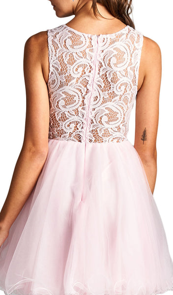 Jeweled Lace Illusion Jewel A-line Evening Dress