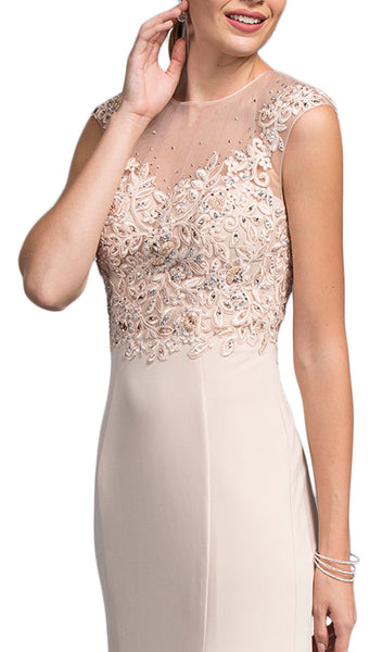 Embroidered Sheath Mother of Bride Dress