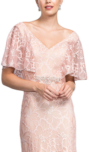 Lace Wide V-neck Mother of Bride Dress