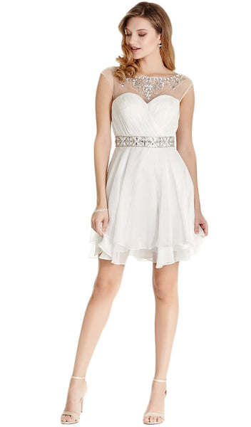 Bejeweled Ruched A-line Homecoming Dress - ADASA
