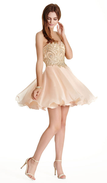 Gilded Sweetheart A-line Homecoming Dress