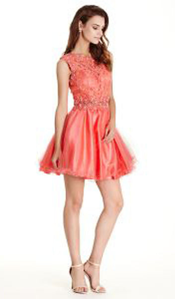 Floral Lace A-line Homecoming Dress