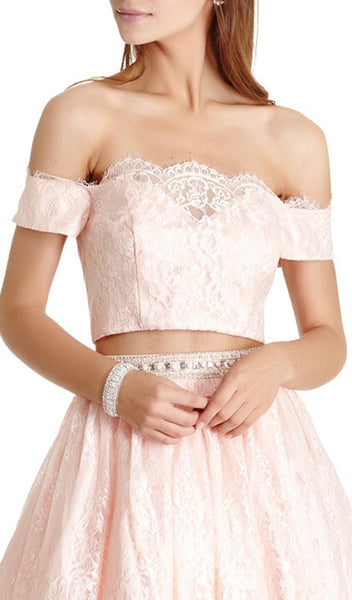 Lace Two Piece A-line Homecoming Dress