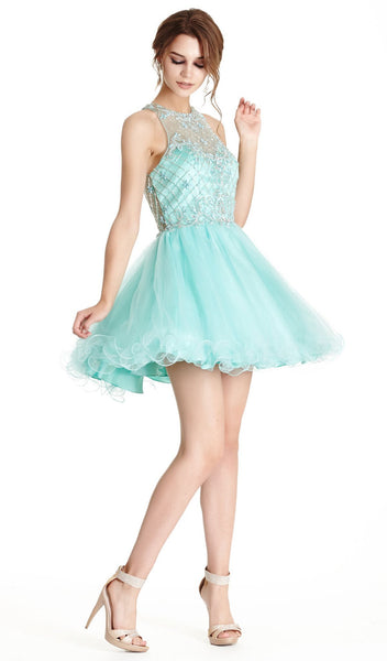 Bedazzled Illusion Halter Aline Homecoming Dress - ADASA