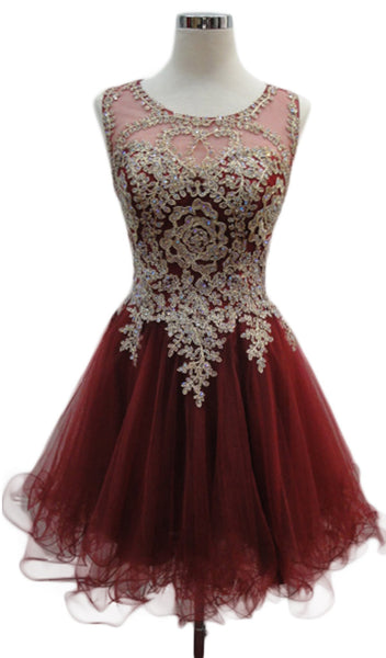 Embroidered Sheer Jewel Homecoming Dress