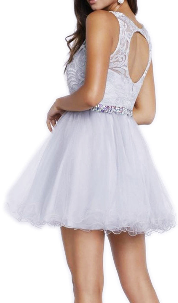 Nox Anabel - 6252 Embroidered Bodice Tulle Short Party Dress