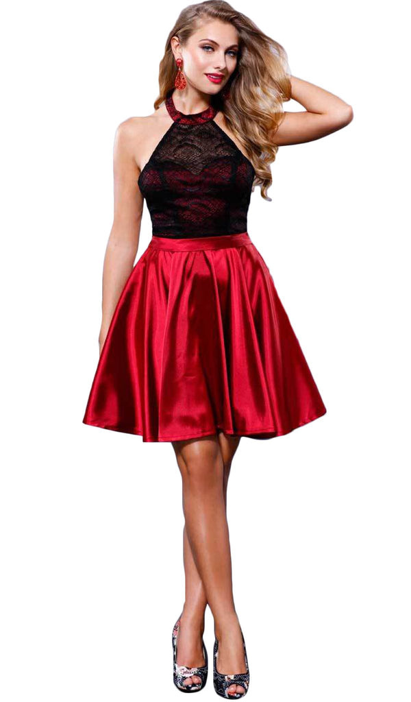Illusion Laced Halter Short Prom Dress