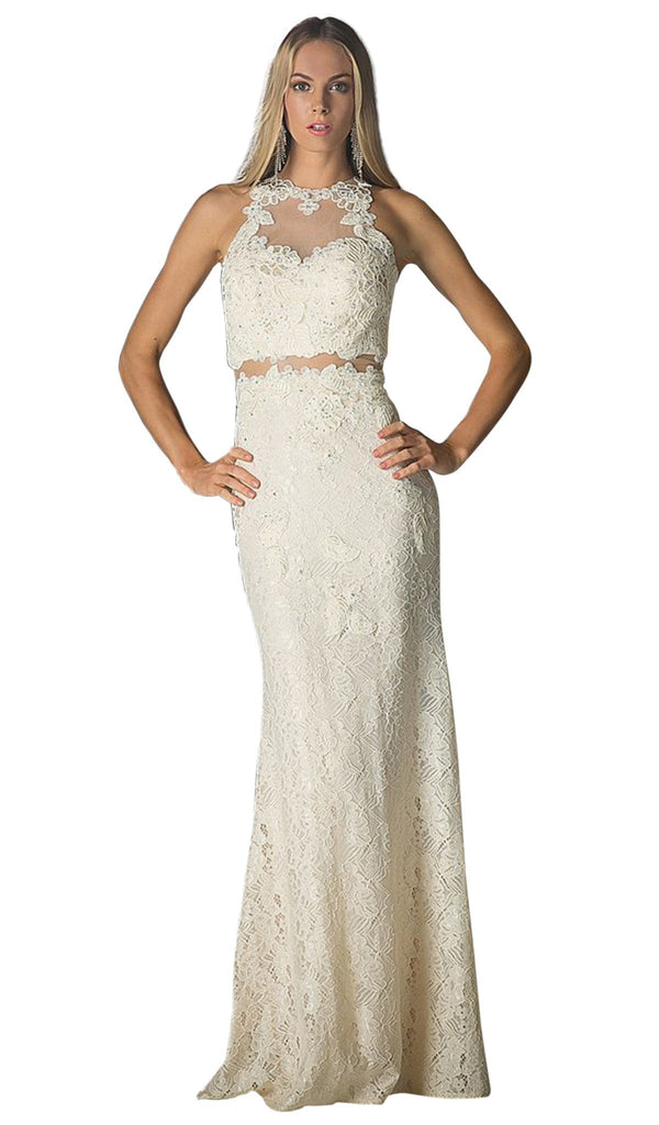 Illusion Lace Appliqued Sheath Gown