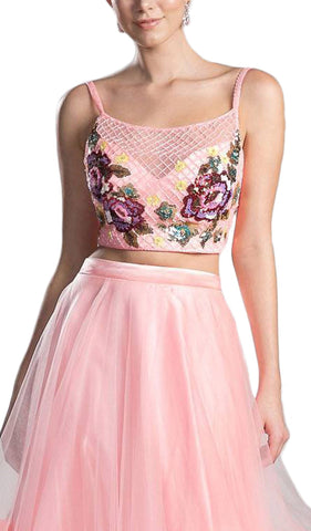 Two Piece Embroidered Tulle Evening Dress
