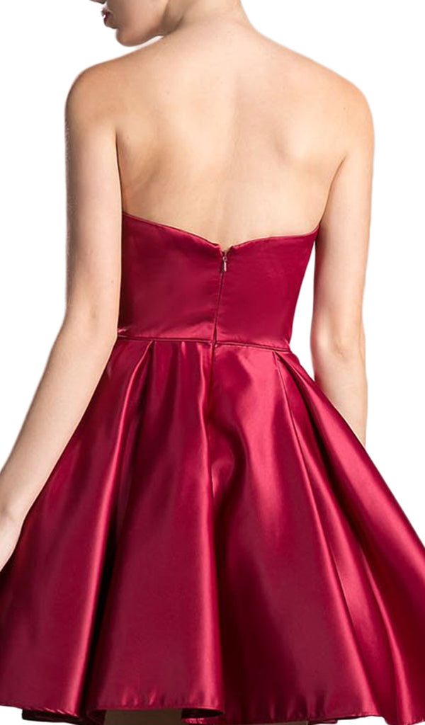 Bead Accented Sweetheart Pleated A-line Dress - ADASA