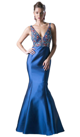 Deep V-neck Embellished Mermaid Evening Gown - ADASA