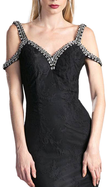 Embellished Strappy V-neck Lace Fitted Dress