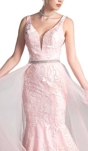 Lace Appliqued Mermaid Dress with Overlay
