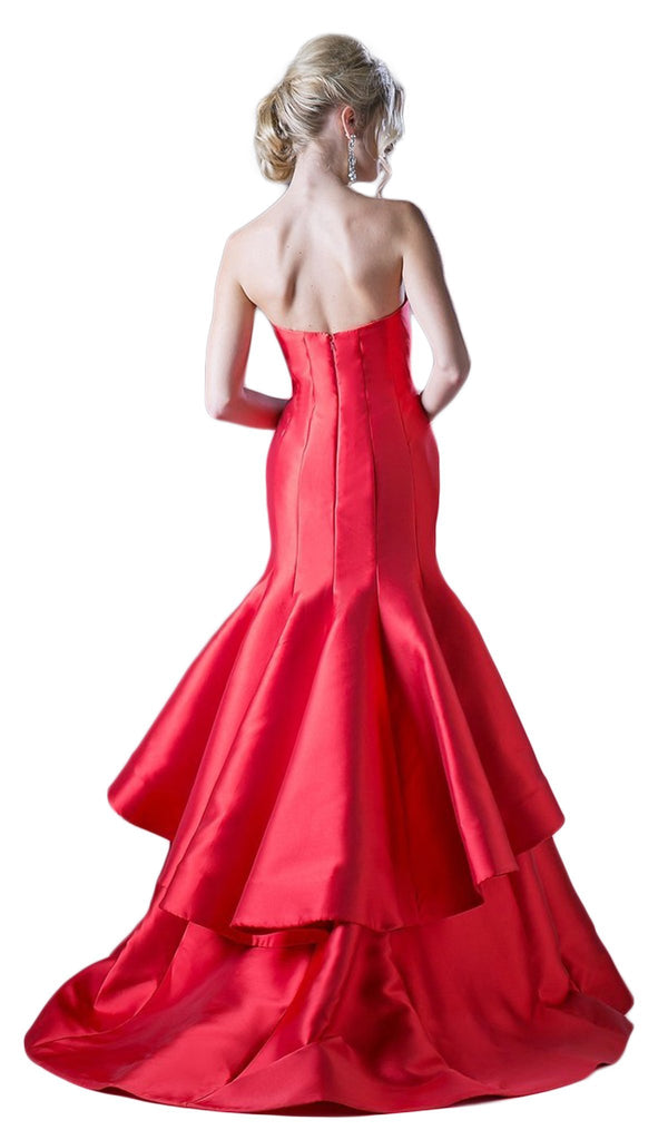 Strapless Sweetheart Layered Trumpet Dress
