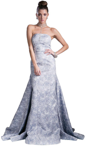 Strapless Straight Neck Floral Print Evening Gown