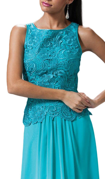 Lace Bateau Neck Chiffon A-line Dress