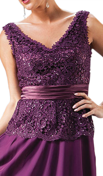 Sequin-Ornate Lace Peplum Detailed Long Formal Dress