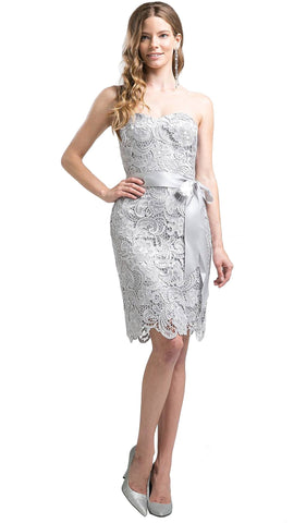 Strapless Satin Sashed Lace Sheath Dress