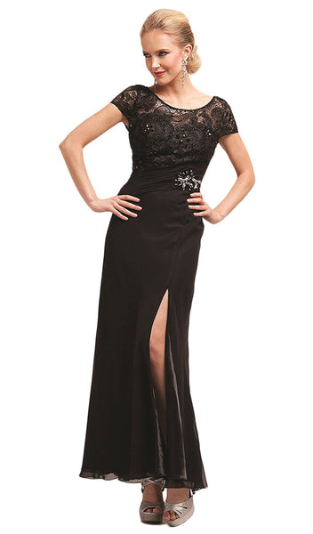 Bedazzled Illusion Bateau Sheath Dress - ADASA