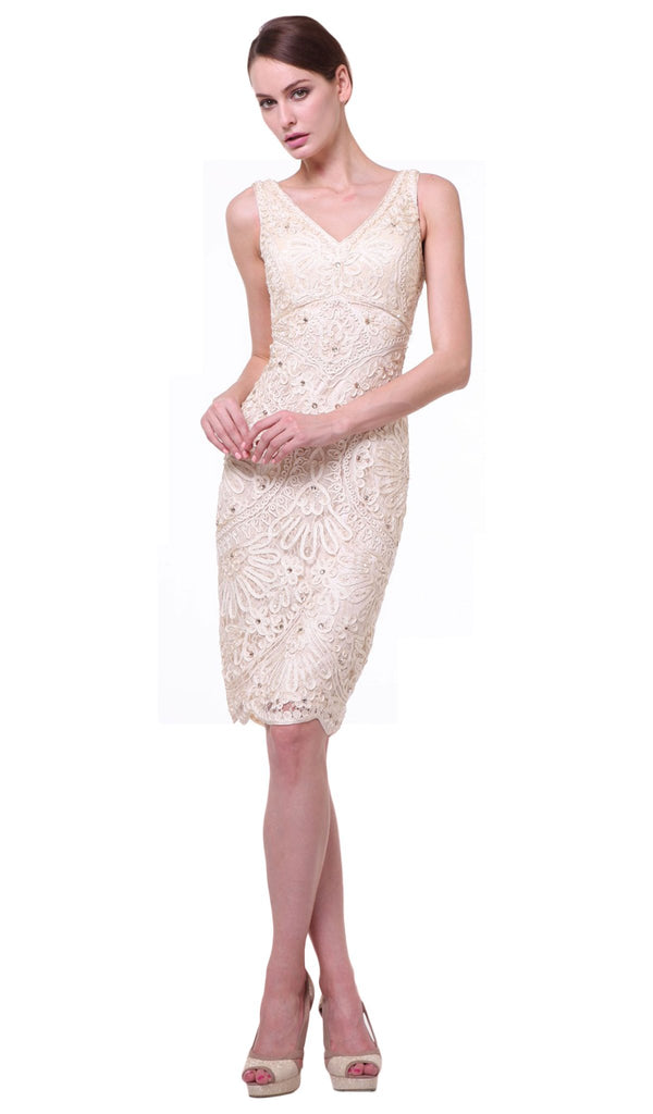 Sleeveless Embellished V-neck Sheath Dress