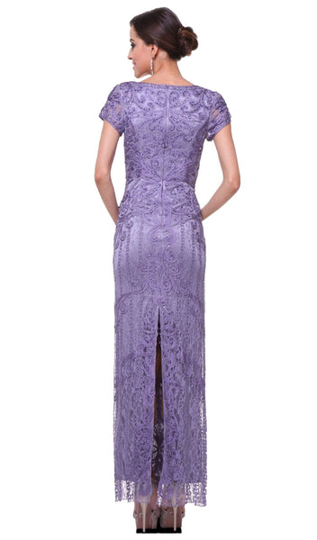 Cap Sleeve Soutache Embellished Long Sheath Formal Dress - ADASA