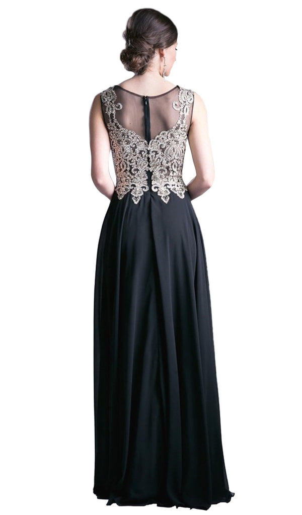Jeweled Metallic Lace Illusion A-Line Evening Gown
