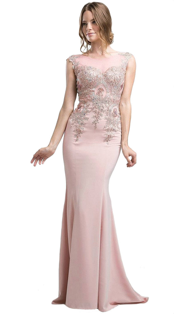 Cap Sleeve Illusion Bateau Metallic Lace Evening Gown - ADASA