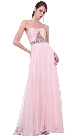 Strapless Bejeweled Chiffon A-line Gown