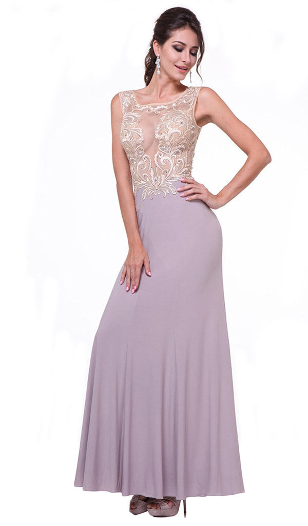 Sheer Fitted Sleeveless Evening Dress