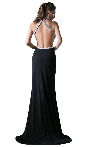 Sleeveless Embellished Halter  Sheath Dress