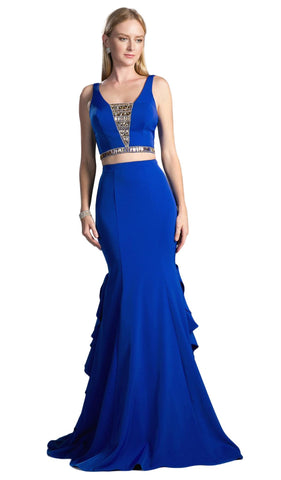 Two Piece Sleeveless Ruffled Trumpet Gown