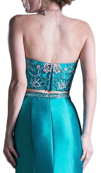 Two Piece Strapless Embellished Mermaid Dress