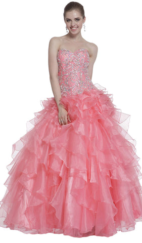 Strapless Beaded Ruffled Evening Gown