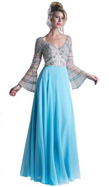 Sheer Long Bell Sleeves Beaded Chiffon Evening Gown