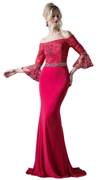 Off-Shoulder Flounce Fitted Gown
