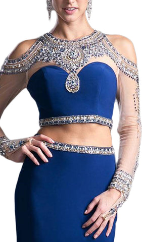 Two Piece Rhinestone Embellished Long Sleeves Gown