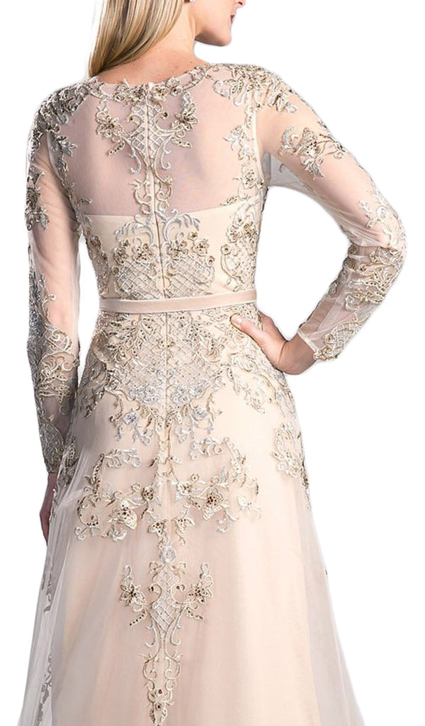 Long Sleeved Embroidered Evening Gown with Belt