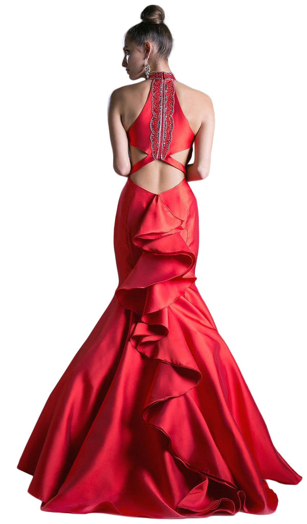High Halter Fitted Mermaid Gown
