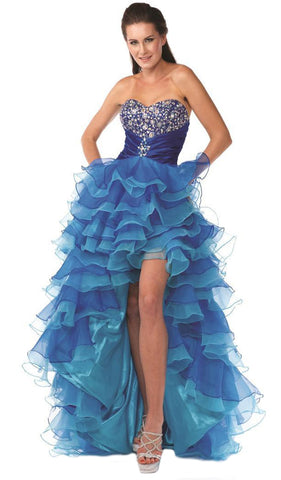 Bejeweled Strapless Ruffled High Low Evening Dress