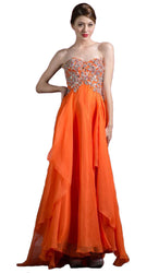 Bejeweled Cap Sleeve Illusion Scoop Evening Dress